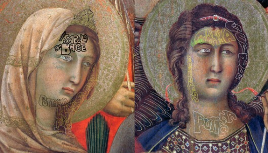 Duccio: Two details from 'Maesta' Siena (1308): 'puttana' means 'whore'; and 'assassinata per me' means 'murdered by me'.