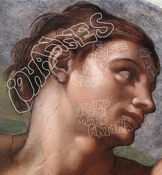 Michelangelo  'The Creation of Adam' detail of Adam's face (1510), 'Adam' was Iohannes, the son of Adamo and Edoarda, and that Adamo was the son of Lodovico and Maria Antonia.