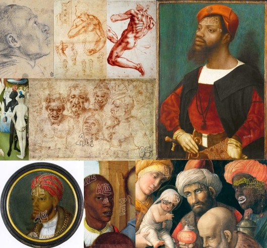 The many faces of Ali: Clockwise from top left: Veronese 'Head of a Black Man' (1558) Michelangelo 'Study for Tomb of Julius II' (1505) Michelangelo 'Study for an Ignudo' (1508) Mostaert 'An African Man' (1515) Mantegna 'The Three Kings' (1497-1506) Workshop of Gerard David (1514) Flemish-German portrait (1519) Hieronymus Bosch 'Garden of Earthly Delights' (1509); and in the centre Michelangelo 'Grotesque Heads' (1505)