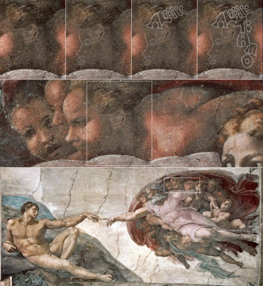 Michelangelo: 'The Creation of Adam' (1510): the profile of Michelangelo's son Ali, hidden in the shadows.