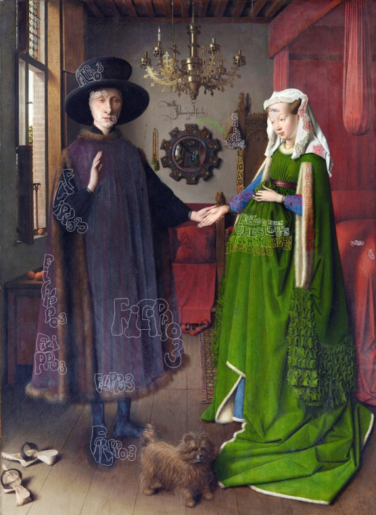 Jan van Eyck 'The Arnolfini Wedding' (1434). Art has been marked to show the exact location of the hidden text.