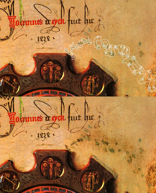 Jan van Eyck 'Arnolfini Wedding': detail of signature on wall (1434): it can also be read as 'Io et omnes de Eyck fuit hic'.