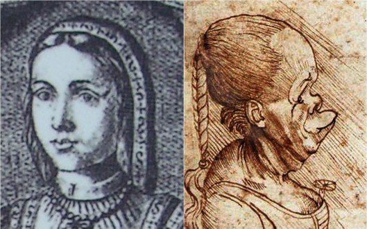 Portraits of Beatrice before and after they split up: 'Beatriz de Bovadilla'; and Leonardo da Vinci 'Five Grotesque Heads' (1503)