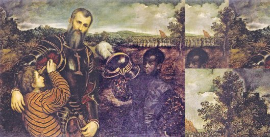 Paris Bordone 'Man in Armour with Two Pages' (1543): Joining the far left edge with the far right shows they were painted as one: the tree is seamless.