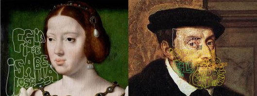 Left: Joos van Cleve 'Eleanor, Queen of Portugal and France' Right: Titian? 'Holy Roman Emperor Charles V