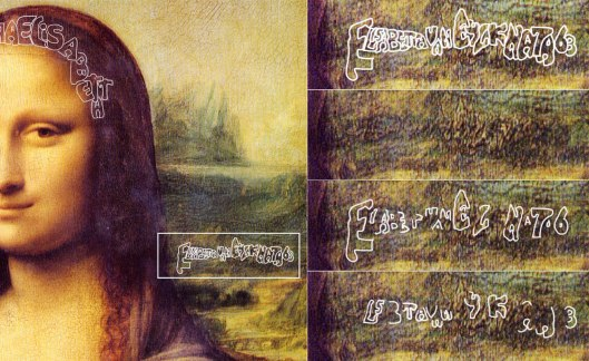 Leonardo 'Mona Lisa': The person the painting is about, named in the backdrop.