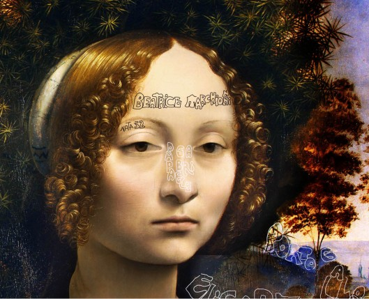 Leonardo da Vinci: 'Ginevra de' Benci' (1470): Leonardo identifies her as Beatrice Marchionni, born 1452 , and the setting as Portugal
