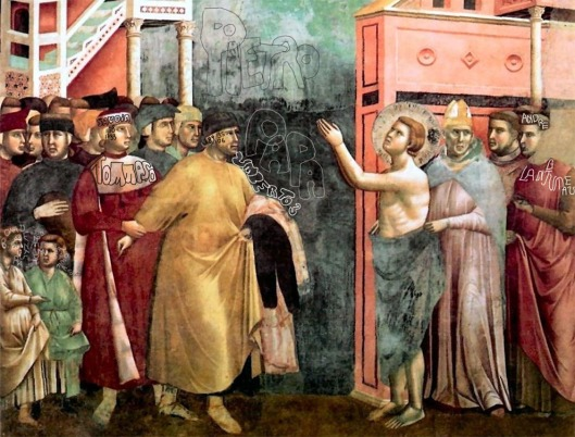 Giotto: 'St Francis Renounces his Fathers Goods' (1335). St Francis father (Pietro) is revealed as Count Umberto III of Savoy. Behind him is his son  Tommaso. St Francis' son Bonaventura is the child  far left, and his twin brother Andre is far right. It was the 200th anniversary of Pietro's birth.