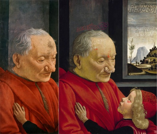 Ghirlandaio 'An Old Man and his Grandson' (1489): before (left), and after 'restoration' (right)