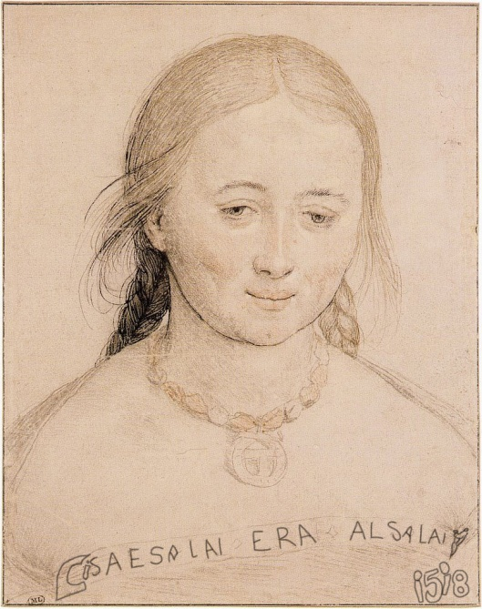 Hans Holbein  'Portrait of a Young Woman'  (1518): The text reads 'Lisa and Salai: it was AlSalai', a reference to Ali, his former lover.