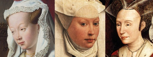 Arnolfini portrait by Jan, and  two of Isabella, by van der Weyden