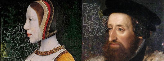 Left: Master of the Legend 'Isabella, Queen of Denmark'   Right: Hans Bocksburger 'Holy Roman Emperor Ferdinand I'