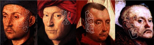 Portraits of Jan van Eyck: The Goldsmith (Jan, 1430); Man in a Turban (Jan, 1433); Lamentation (van der Weyden, 1441); San Cassiano Altarpiece (Antonello da Messina, 1475). All are marked with his Italian pseudonym 'Masolino'. Jan actually died in 1471.
