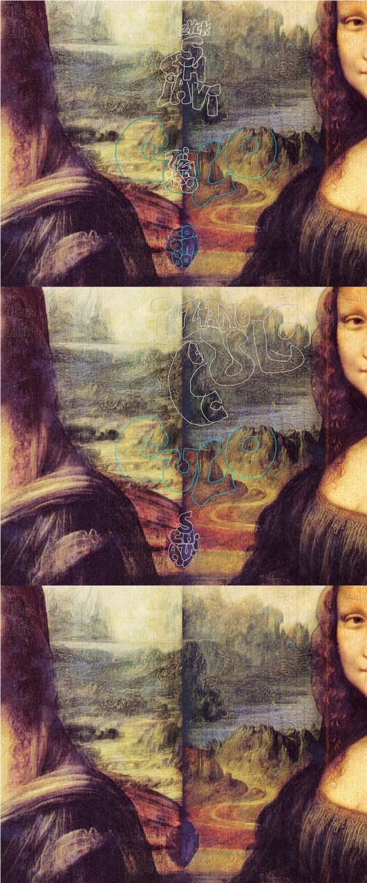 Leonardo da Vinci 'Mona Lisa' (1512), opposite sides joined, to reveal another feature. See the huge 'E' spanning the gap? It leads to a large 'Y', the tail of which winds into a road in the form of a 'C', and it spells the Northern European family's name 'Eyck'.