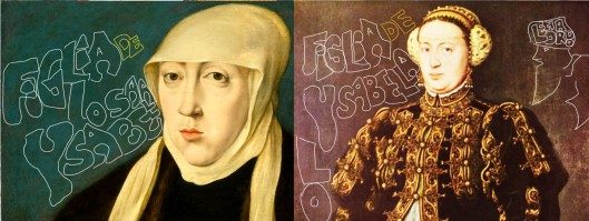 Left: Jan Cornelisz Vermeyen 'Mary, Queen of Hungary'  Right: Antonis Mor 'Catherine, Queen of Portugal'