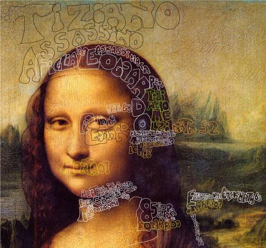 Leonardo da Vinci 'Mona Lisa' (1512): he says she is the daughter of Leonardo and Beatrice Marchionni (born 1452), sister of Iohes and daughter of Gabriele Marchionni, the salve traders. He says also he thinks his assistant Melzi, who we know better as the artist Titian, murdered her.