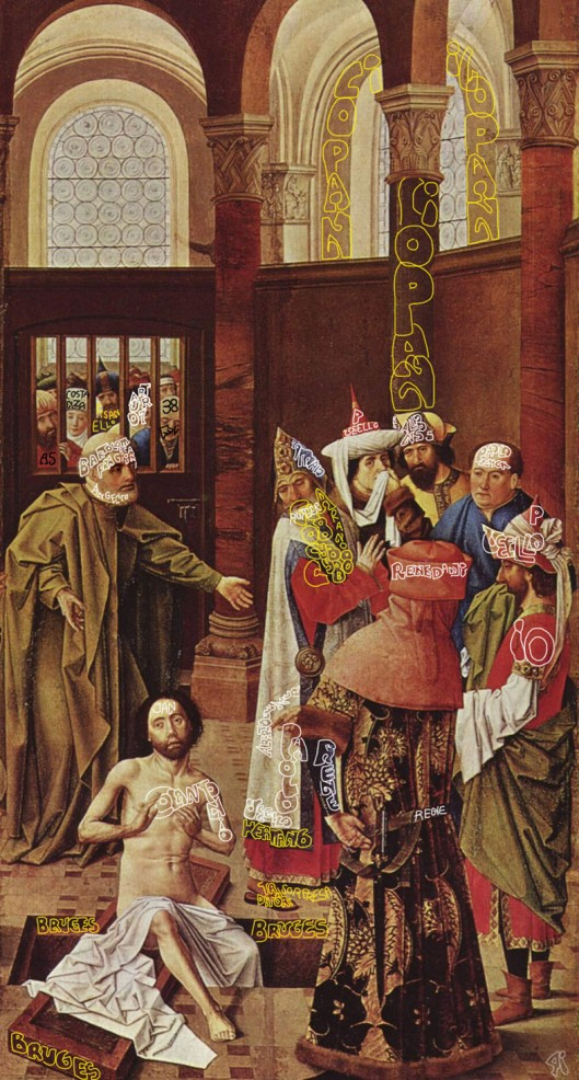 Albert van Ouwater: 'The Raising of Lazerus' (1441) Lazerus here, of course, is Jan van Eyck,  'dying' in Bruges, and being resurrected in Naples as 'Colantonio'. Antonello's Uncle Herman (aka Rutger) is there too,  busy being the Viceroy of Naples; and the King, René d'Anjou (with his back to us)  knows him not as Herman Limbourg, but as 'Arana Cybo', soon to be father of Pope Innocent VIII.   And Uncle Herman is surprised ('sorpresa') to find that  his brother, who he thought was dead, is back under a new name, and toppling his boss. 'Traditori'!... 'traitors'! he says. They had really messed up his career prospects.  The artist confesses that the name he was using: 'Ouwater' was also a charade: his real name was Paolo Uccello.And he  is there twice over. First, to the far right, in profile, covering his nose from the smell of what is going on, and  confirming, to King René that yes, it really is the famous Colantonio.  And there he is again,  between Uncle Herman and King Alfonso of Aragon, again with a cloth guarding his nose from the offense,  but this time sharing the joke with us, with a delightful smirk on his face. And the person in the brown  attire to the  left? It's Uncle Fra Giovanni Angelico,  and he is astonished. He says: 'Vero?'... 'Really?!' The old masters are so much more fun than we have been led to believe, don't you think?!