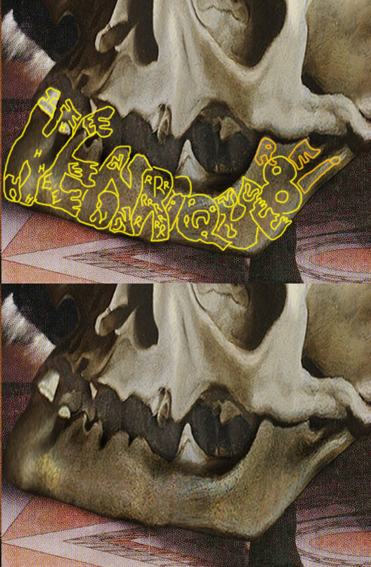Holbein 'Ambassadors'(1535): the name of the owner of the skull is 'Rei Henrique 8'. And in English that is... 'King Henry VIII'.