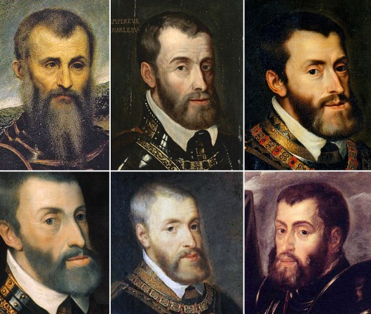 Composite of 5 likenesses of the Holy Roman Emperor Charles V, with the  'Man in Armour'.