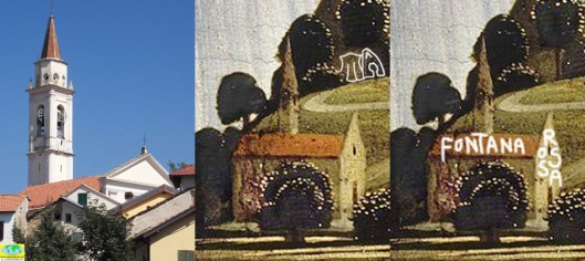 The church in Fontanarossa, today, and as Ghirlandaio's portrayed it in his 'Old Man and his Grandson' - and granny's cottage in the woods.