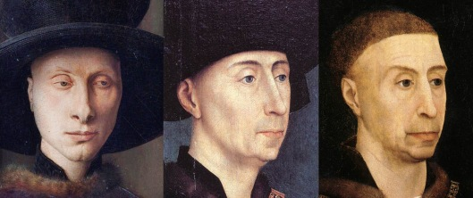 Arnolfini portrait by Jan, and two later portraits of the Duke of Burgundy, Philip III, by Rogier van der Weyden