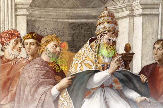 Raphael: 'Pope Gregory IX', Fresco Stanza della Segnatura, Vatican (1511): from left to right Andre de Langjumeau; King Louis IX of France; St Francis and his various aliases; and Pope Gregory IX (son of Carlo Fieschi). Art has been marked to show the exact location of hidden text.