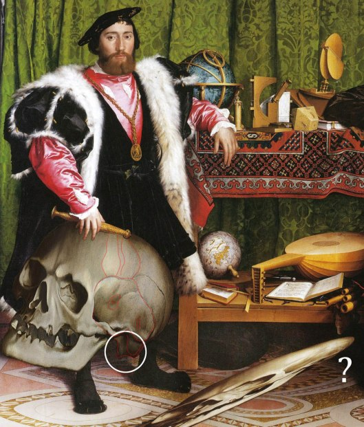 Hans Holbein 'The Ambassadors' (1535). The original, distorted skull is in the middle; and another adjusted to the shape of a real skull, is added to the left. The miniscule crucifix extreme top left, peeping out from behind the curtain, says 'Thomas More', with the year '35' on its head.