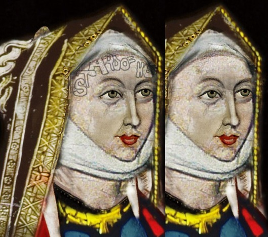 Stained glass featuring Anne of York, another sister