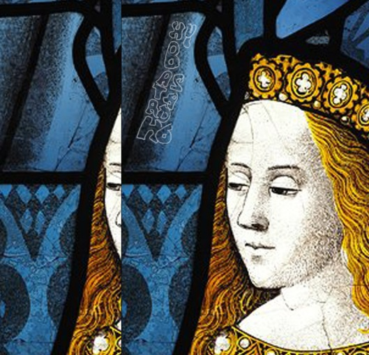 Stained glass window from Canterbury Cathedral featuring Cecily of York, sister of Edward V.