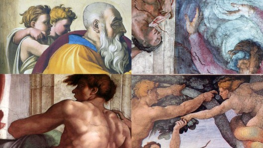 Michelangelo Sistine Chapel ceiling (1508-1512): examples of the crooked finger gesture.