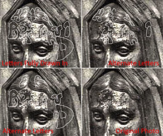 Tomb of Elizabeth of York: lettering on the forehead