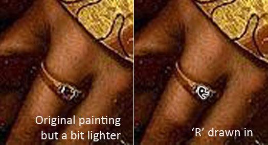 Holbein 'Sir Henry Guildford' detail of ring on his left hand