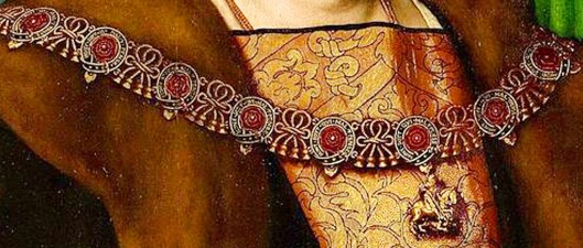 Holbein 'Sir Henry Guildford' detail of Order of Garter Roses