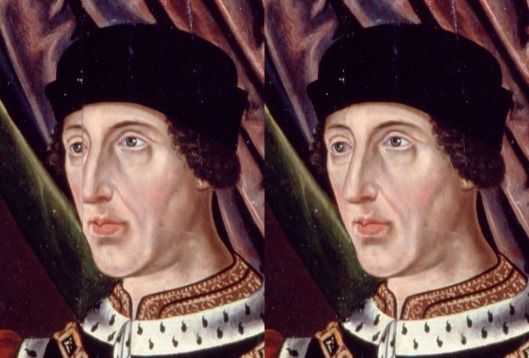 Henry VI left panel original; right frame with fault of wooden panels splitting corrected