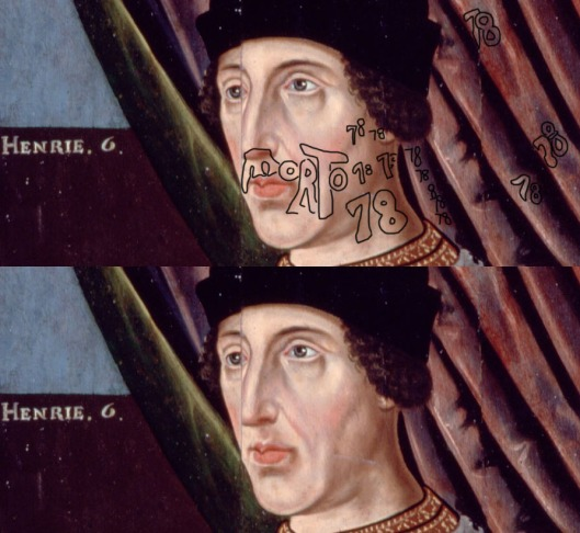 Portrait of King Henry VI, saying he died in 1478, not 1471 as the history books tell us.