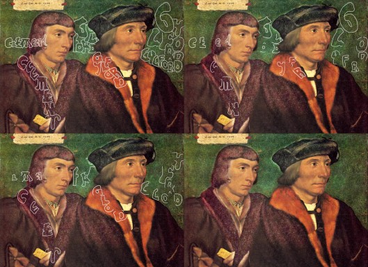 The presence of aliases on the labels and in the backdrop of the painting by Holbein of 'Sir Thomas Godsalve and his Son John'. Alternate lettering is used in two of the versions so one can better pick out the letter the artist drew in the gap. The background and various other areas have been digitally enhanced to increase the tonal contrast, making the presence of hidden material a little easier to see.