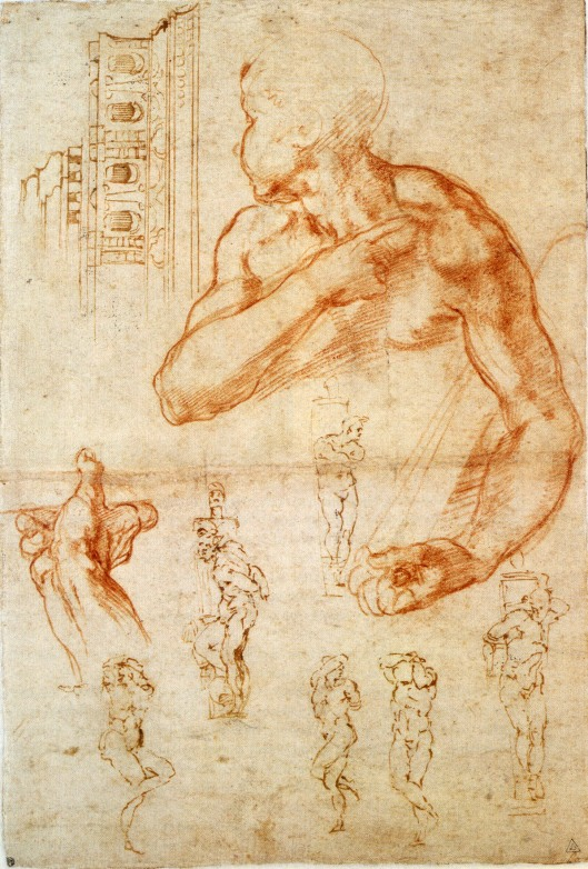 Michelangelo 'Sketch for Libyan Spandrel' 1498, amended 1505 with sketches for the Tomb of Julius II