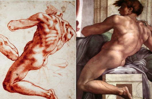 Michelangelo Study for an Ignudo on Sistine Chapel Ceiling (1508), and the Ignudo itself (1511)