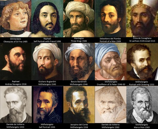 Composite of various depictions of Michelangelo from youth to old age
