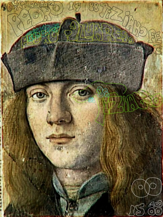 Melzi 'Self Portrait' 1500, marked up to show location of text identifying him as Titian, son of Pedro Alvares