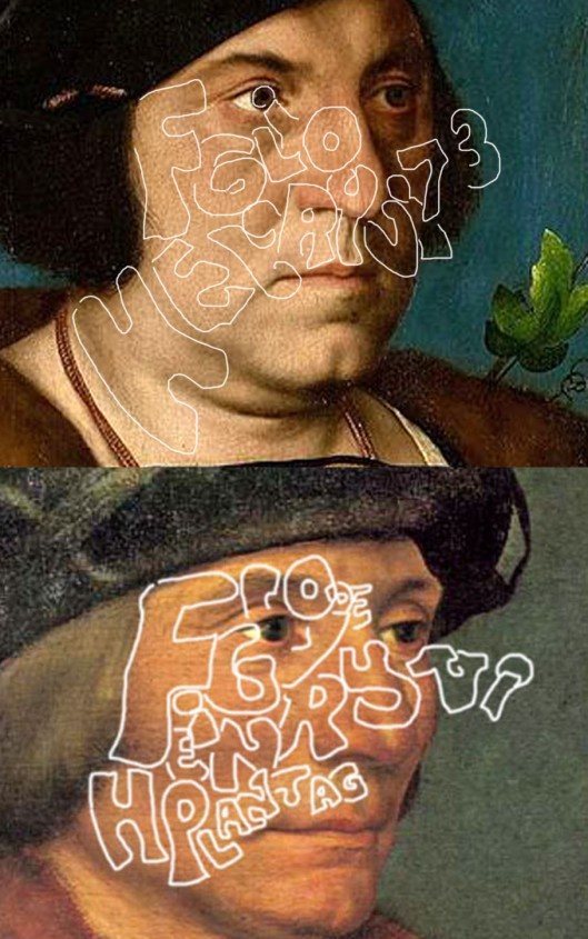 The two Holbein portraits showing the location of hidden text defining the two Princes' father.