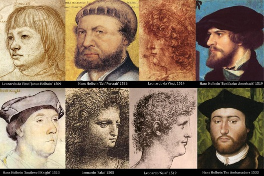Composite of portraits of Salai and Hans Holbein, all identified as the same person in hidden annotations.