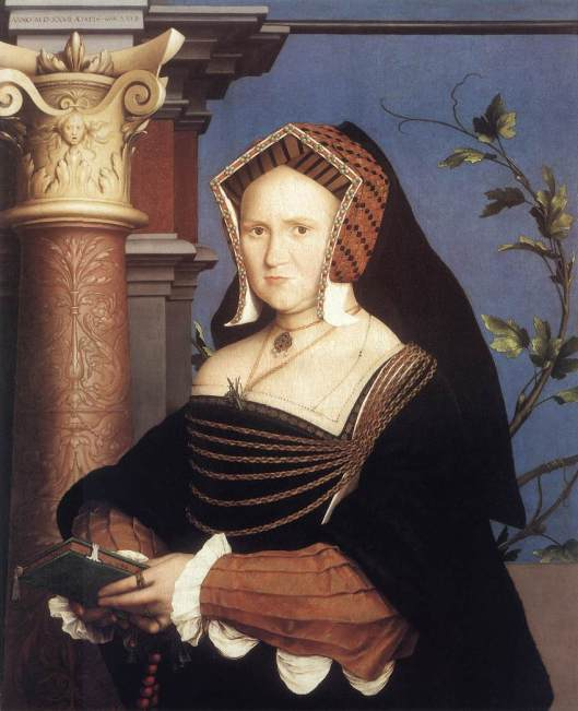 Hans Holbein 'Lady Mary Guildford' despite the number on the architrave, the artist dated this as 1535.
