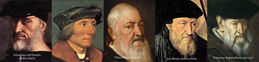 Four depictions of Edward V, compared to one of the real Andrea Doria.