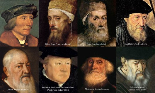 Various 1550s portraits of old men.