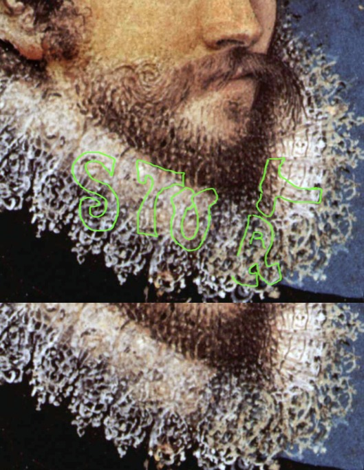 Nicholas Hilliard 'Self Portrait 1577. Detail of beard.