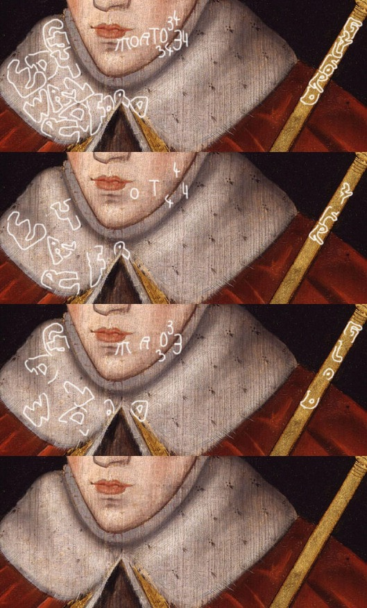 Rowland Lockey: 'King Edward V': detail of 'Gylford' alias and year of death, 1534.