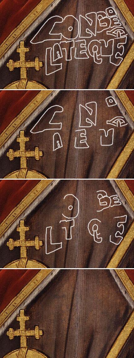 Rowland Lockey 'King Edward V': detail showing 'Longo et Lateque'