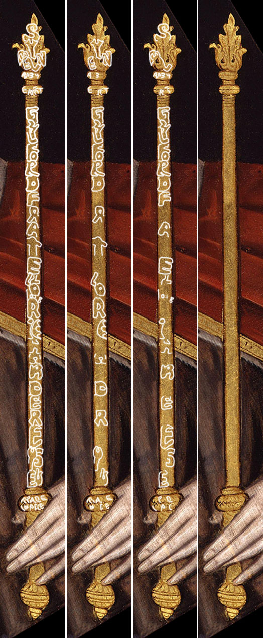 Rowland Lockey 'King Edward V': detail of sceptre.