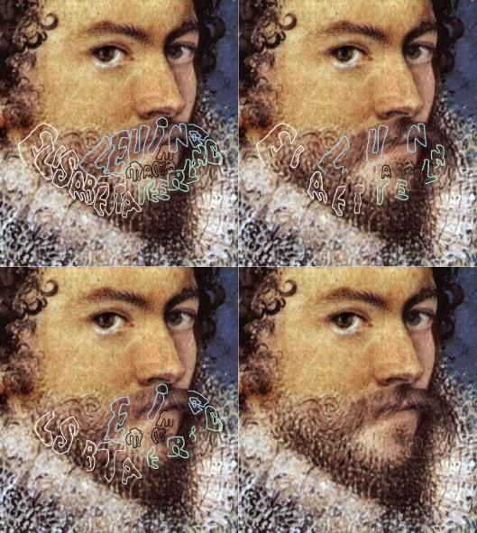 Nichoilas Hilliard 'Self Portrait' 1577. Detail of face.